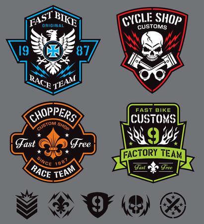lightening: Biker insignia set Illustration