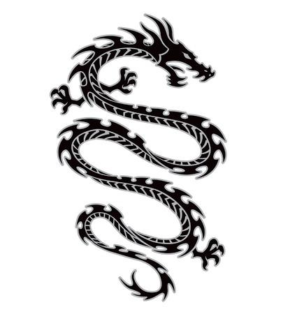 部族のドラゴンのタトゥー  イラスト・ベクター素材
