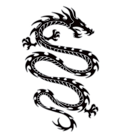 serpents: Tribal dragon tattoo Illustration