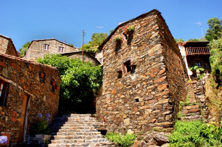 Small typical mountain village of schist in Lousa, Portugal photo