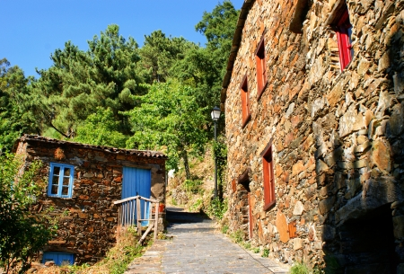 Small typical mountain village of schist in Lousa Stock Photo - 14206897