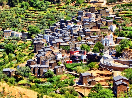 View of the Portuguese mountain village of Piodao