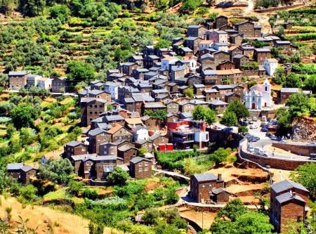 View of the Portuguese mountain village of Piodao