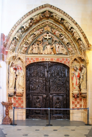 Cloister door of Burgos cathedral in Spain Stock Photo - 16294426