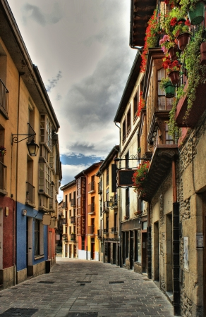 vitoria: Old street of Vitoria in Spain