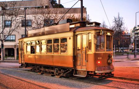 electrico: Typical tram in Porto, Portugal