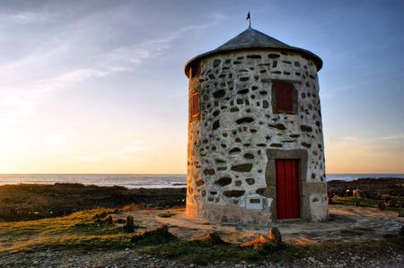 Carreco windmill in Viana do Castelo, Portugal Stock Photo - 32456111