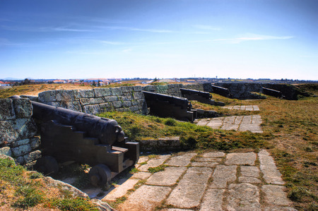 Old cannons of Almeida historical village and fortified walls in Portugal Stock Photo - 37083088