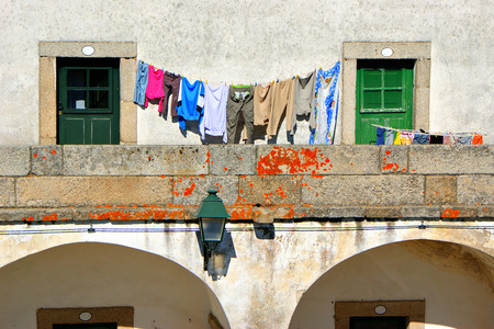 Drying clothes in Almeida historical village, Portugal Stock Photo - 37108738