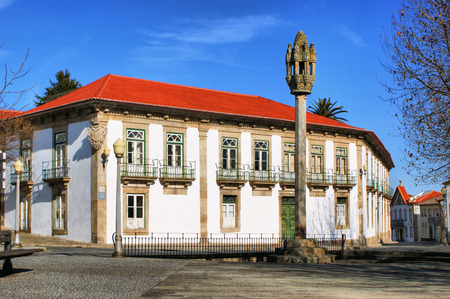 Pinhel pillory and Casa Grande in Portugal Stock Photo - 38895954