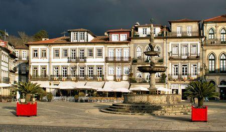 Main square Largo de Camoes with the fountain in Ponte de Lima Stock Photo - 41953538