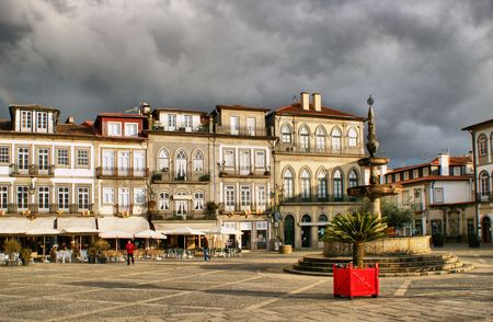 Main square Largo de Camoes with the fountain in Ponte de Lima Stock Photo - 41975159