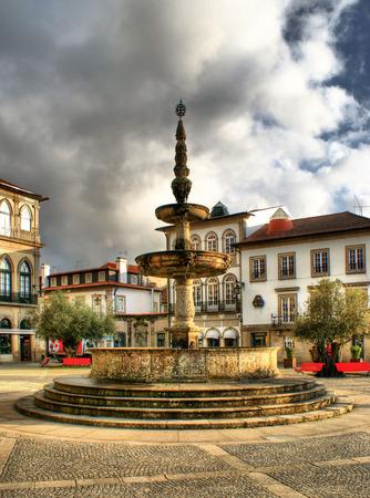 Main square Largo de Camoes with the fountain in Ponte de Lima Stock Photo - 41975249