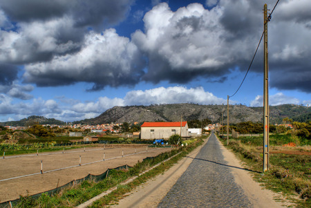 Straight road near the beach in Viana do Castelo, Portugal