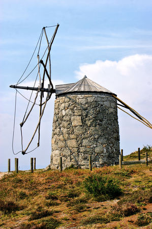 Old windmill of Aboim in Fafe, Portugal Stock Photo - 46733455