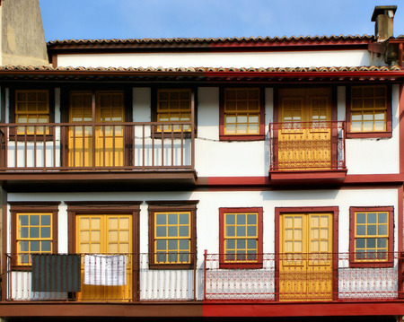 Medieval houses in the Historical Center of Guimaraes, Portugal Stock Photo - 47085256
