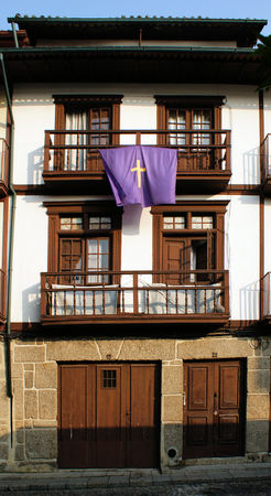 Medieval houses in the Historical Center of Guimaraes, Portugal Stock Photo - 47085262