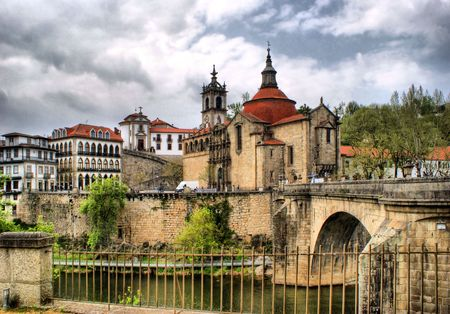 Bridge, River Tamega  The Monastery Of Sao Goncalo in Portugal Stock Photo - 47380682