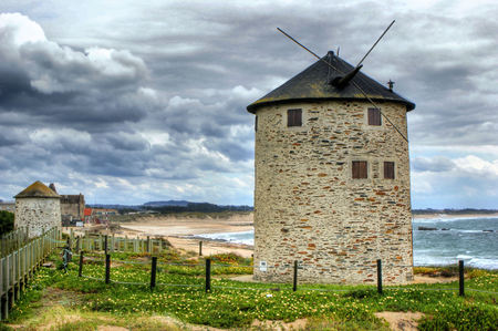portugal agriculture: Apulia windmill in north of Portugal Stock Photo