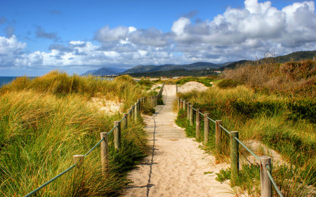 Boardwalk through the sand dunes on beach in Portugal