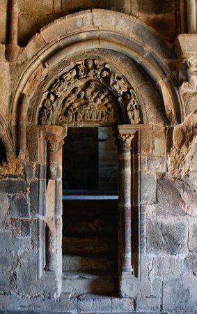 Carved tympanum in the monastery of Carracedo, Spain