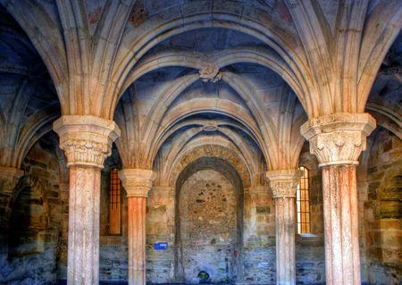 Dentro mosteiro de Carracedo em Bierzo, Espanha Banco de Imagens