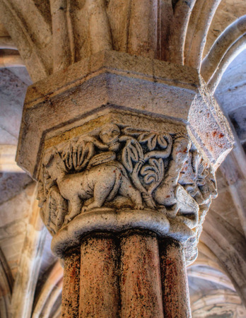 Carved capital in the monastery of Carracedo, Spain