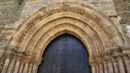 Detail of Door of Forgiveness on romanesque church of Santiago in Villafranca del Bierzo, Leon, Castilla-Leon, Spain Stock Photo