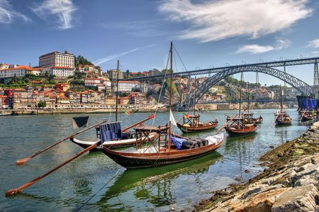 Douro river and traditional boats in Porto, Portugal Stock Photo - 64973670