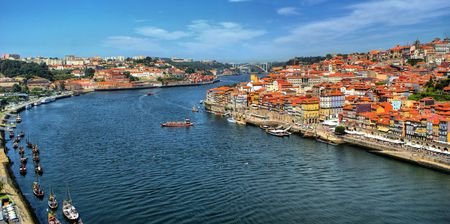 Panoramic view of Douro river at Porto, Portugal