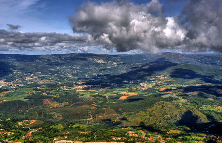 Panoramic view of Farinha mountain in Mondim de Basto, Portugal Stock Photo