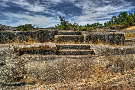 Ruins of Panoias, an ancient roman temple, Vila Real, Portugal Stock Photo