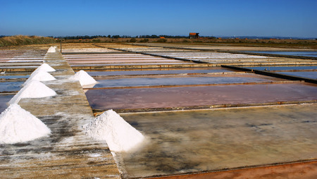 Salt pans on a saline exploration, Figueira da Foz, Portugal Stock Photo - 73081922