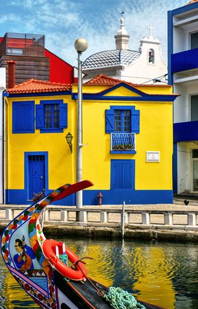 Colorful houses and typical boats in Aveiro, Portugal Editorial