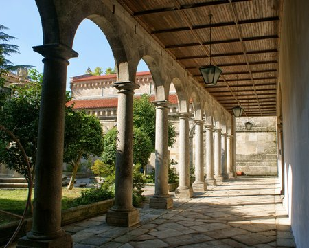 Cloister of romanesque monastery of Pa?o de Sousa in Penafiel, north of Portugal Stock Photo