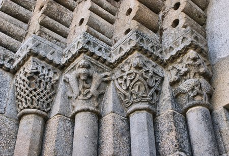 Detail of romanesque monastery of Sao Pedro de Ferreira in Pacos de Ferreira, north of Portugal Stock Photo
