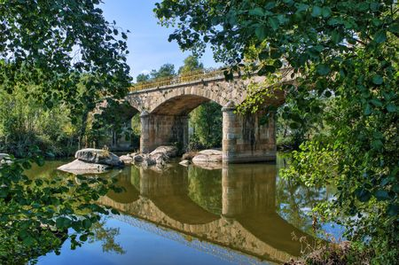 Stone bridge over Tamega river in Boticas, Portugal Banco de Imagens