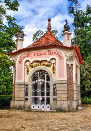 Pedras Salgadas fountain in the park, portugal Editorial