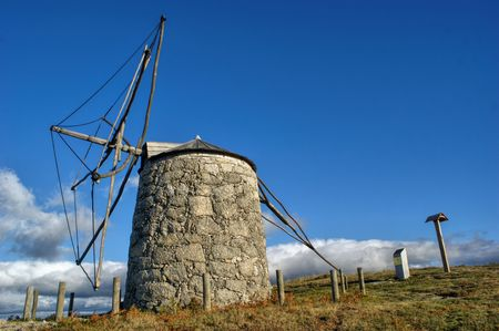Old windmill of Aboim in Fafe, Portugal Stock Photo
