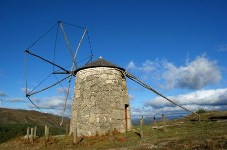 Old windmill of Aboim in Fafe, Portugal Banco de Imagens