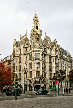 Building in downtown of Oporto, Portugal Stock Photo