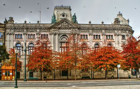 Building of Bank of Portugal in Oporto, Portugal Stock Photo