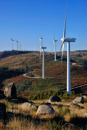 Wind energy in Fafe mountains, Portugal Banco de Imagens - 95524297