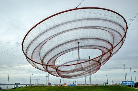 Janet Echelmans public network sculpture in roundabout, Matosinhos, Portugal