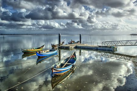 Fishing boats in the estuary of Aveiro, Portugal Stock Photo