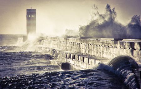 Storm in Oporto lighthouse, Portugal Banco de Imagens - 105536676
