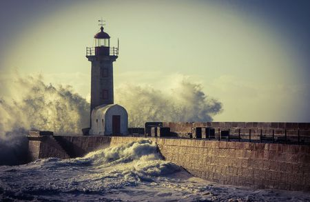 Storm in Oporto lighthouse, Portugal