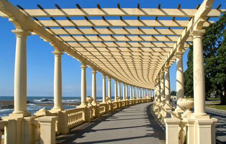 Coastal way with Pergola at Foz do Douro, Oporto, Portugal Banco de Imagens - 114200727