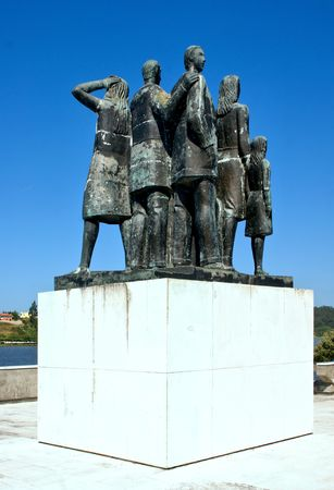 Monument to the emigrants in Pateira de Fermentelos, Portugal Editorial