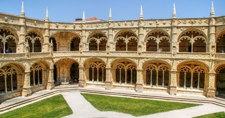 Cloister of Jeronimos monastery in Lisbon, Portugal